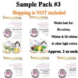 sample pack #3, PinkPawPal professional grooming products, Ear cleanser, degreasing shampoo, whitening and silky shampoo, facial shampoo, and nourishing conditioner